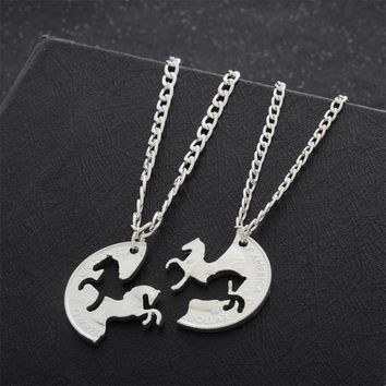 2PC Running Horse Puzzle Necklace Gifts For Best Friend Women Men Friendship Pendant Necklaces Silver Plated Charm