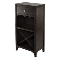 Winsome Woods Ancona Modular Wine Cabinet with One Drawer, Glass Rack