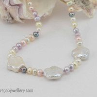 Multi color seed + flower pearl necklace, pastel, handmade, hand knotted, feminine, bride, mother of the bride, high quality, unique, silver