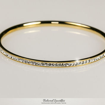 Katlynn 18k Gold Crystal Bangle Bracelet | 2 Carat | Gold | Crystal