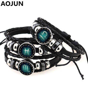 Snap Button Bracelet 12 Constellation Bracelets Charm Leather Braided Bracelet Metal Beads Bracelets Surf Punk Men Women B603