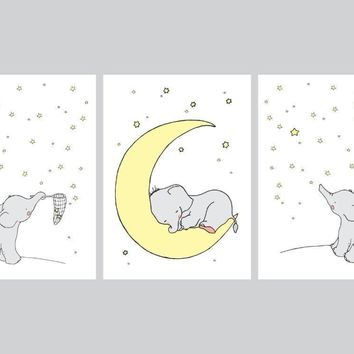 Cartoon Elephant Canvas Painting Wall Picture Art Prints , Cute Animals Elephant Koala Print Poster Baby Room Nursery Art Decor
