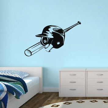Vinyl Decal Sport Emblem Logo Baseball Helmet And Crossed Home Wall Decor Stylish Sticker Mural Design Children Kids Room V631