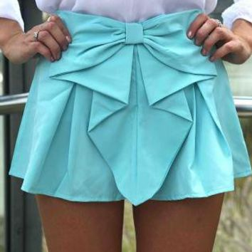 Teal Bow Front Shorts with Pleated Waist Detail