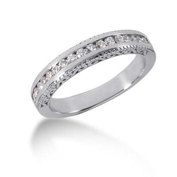 14k White Gold Vintage Style Engraved Diamond Channel Set Wedding Ring Band, size 4