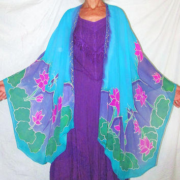 silk cape, Goddess of Compassion, lotus cape, dragon fly cape, silk ruana, goddess wear, resort wear, silk jacket, boho, festival wear