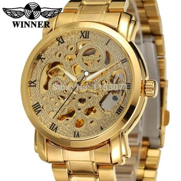WINNER Luxury Skeleton Automatic for Men Watch Stainless Steel Bracelet with Gift Box
