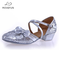 MoveFun Brand Children Glitter Buckle Latin/Sandals Dancing Shoes for Women Heel 3.5cm Kids Ballroom Dance Shoes Girls-32