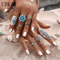 17KM 9Pcs/ turquoise Bohemian Ring Set Vintage Steampunk Cross flowers Anillos Ring Knuckle Rings for Women 2016 New Jewelry