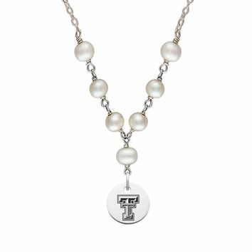 Buy Texas Tech Red Raiders Swarovski Tin Cup Pearl Necklace with Round Charm . Free Shipping