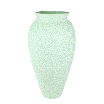 Captivating Glass Vase With Mosaic Motif, Light Blue-Benzara