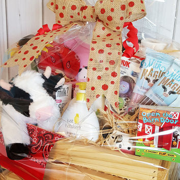 Barnyard Fun Gift Basket - Unique Baby Shower Gift - Gift Basket - Farm Themed Gift Basket - Baby Shower Gift Basket