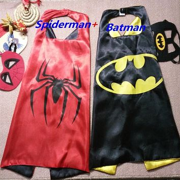 Mask + cape superman spiderman kids superhero capes batman cape superhero costume suits for boys girls for party