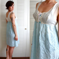 Baby Blue & Cream Baby Doll Nightie Dress Lace Floral Ribbon Lingerie