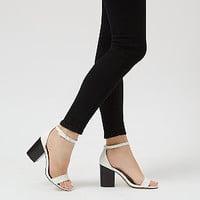 White Ankle Strap Block Heels