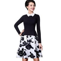 Nice-forever Retro Elegant Flower Print Zipper Turn-down Collar Women Long Sleeve Celebrity A-Line Female Dress A027