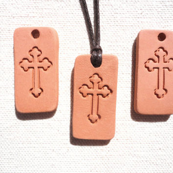 Cross Essential oil diffuser pendant, Aromatherapy Kiln Fired Clay Diffuser Pendants