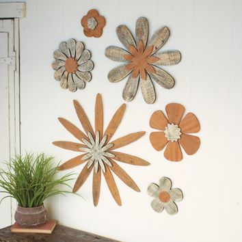 Wooden Flower Wall Art (Set of 6)