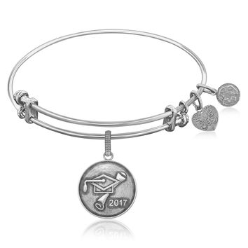 Expandable Bangle in White Tone Brass with Class Of 2017 Graduation Cap Symbol