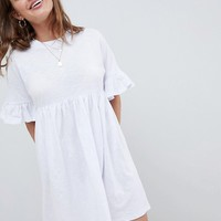 ASOS DESIGN Petite cotton slubby frill sleeve smock dress at asos.com