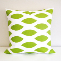 Ikat Green Decorative Pillow. Throw Pillow Cover. Accent Pillow. ONE 18 x 18 Inches Ikat