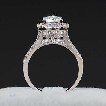 Silver Crystal Zircon Flower Engagement Ring