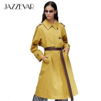 JAZZEVAR 2019 New arrival autumn khaki trench coat women fashion style X-Long cotton Loose clothing with belt womanclothes9015-1