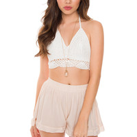 Lunette Crochet Crop Top - White