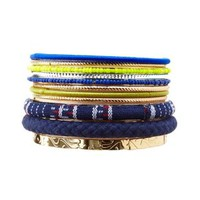 Multi Mixed Media Bangles - 11 Pack by Charlotte Russe