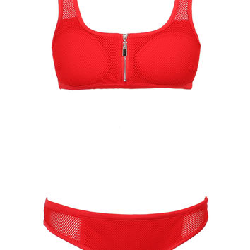 Red Zip Up Padded Cropped Bikini Top And Bottom