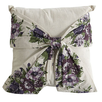 Vintage Floral Purple Bow Pillow