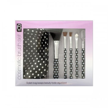 Polka Dot Cosmetic Brush Set With Stylish Bag (pack of 4)