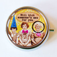 Girlfriend pill case, Funny Pill Box, Pill Case, Pill Container, Gift for her, Mint case, Candy container, Humor, Gift for friend, Kick Ass