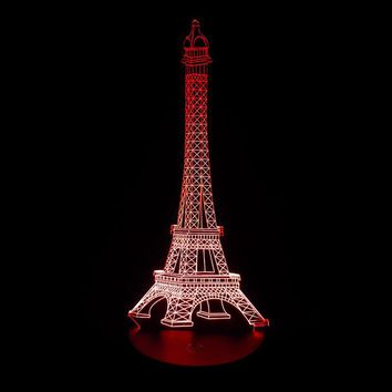 1pcs 3D lamp LED Night Light The Eiffel Tower 3D Illusion Night Lamp Table Desk Lamp Home Lighting Color Changing SA718 T50