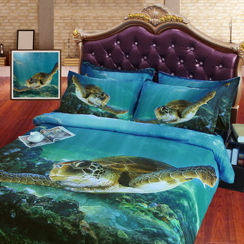 Stunning Green Sea Turtle  4PC Duvet Cover Set