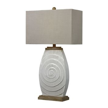 Glazed Ceramic Table Lamp with Natural Wood Tone Accents Fauborg Glaze,Light Wood Tone
