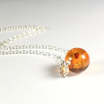 Minimalist Amber Bead Pendant Necklace Simple Sterling Silver 925 Jewellery