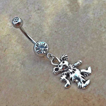 Grateful Dead Dancing Bear Belly Ring Navel Ring 14ga Body Jewelry