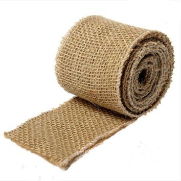 Vintage 3YD/9FT x 17CM Hessian Natural Jute Burlap Roll For Wedding Party Banquet Home Chair sash Decorations Accessories Favors