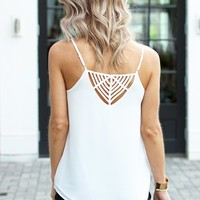 Pretty Tank with Cool Back Detail-Karlie Nyella Strappy Tank-White-$64.00 | Hand In Pocket Boutique