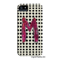 Whimsical, monogrammed M Phone case, Personalized, Letters, iPhone Case, iPhone 5 case, Galaxy S3, Galaxy S4, by Ingrid Padilla