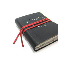 Blank Black Leather Journal/Sketchbook/Dairy with Heart