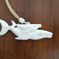 Carved Double Whale Bone Necklace