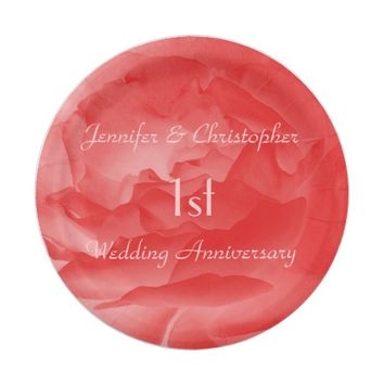 Coral Pink Rose, 1st Wedding Anniversary Paper Plate