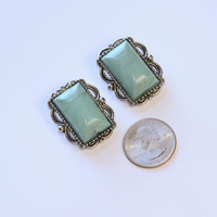 Chunky Silver and Turquoise Earrings Vintage