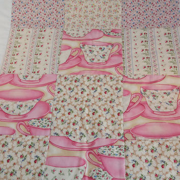 Quilted Table Runner/Tablecloth/ Wall Hanging, Vintage style Handmade Patchwork  Gift idea  OOAK