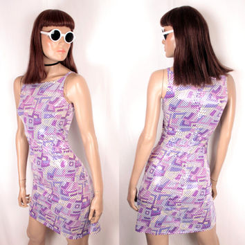90s faux sequin sleeveless dress // mod print