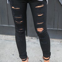The Bombshell Distressed Mid Rise Skinny