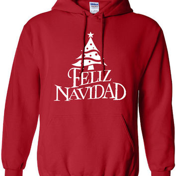 Feliz Navidad Merry Christmas Xmas happy holidays mexico US USA Canada Clothing Unisex Style Funny hoodie hooded sweater christian ML-135
