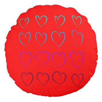 Sixteen colors hearts round pillow